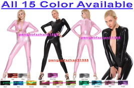Sexy Front Zip Catsuit Costumes 15 Color Shiny Metallic Body Suit Costum... - $32.99