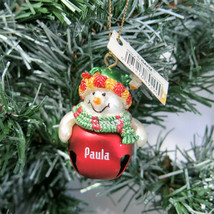 Paula Personalized Christmas Ornament Snowman Jingle Bell Red Ganz NEW - $6.88