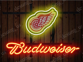"New Budweiser Detroit Red Wings Beer Neon Sign 19""x15"" Ship From USA - $116.88"