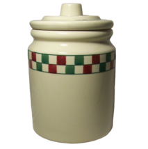 Hartstone Farmhouse Cookie Jar Christmas Canister Red Green Check Checkmates - $16.73