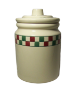 Hartstone Farmhouse Cookie Jar Christmas Canister Red Green Check Checkmates - $18.59