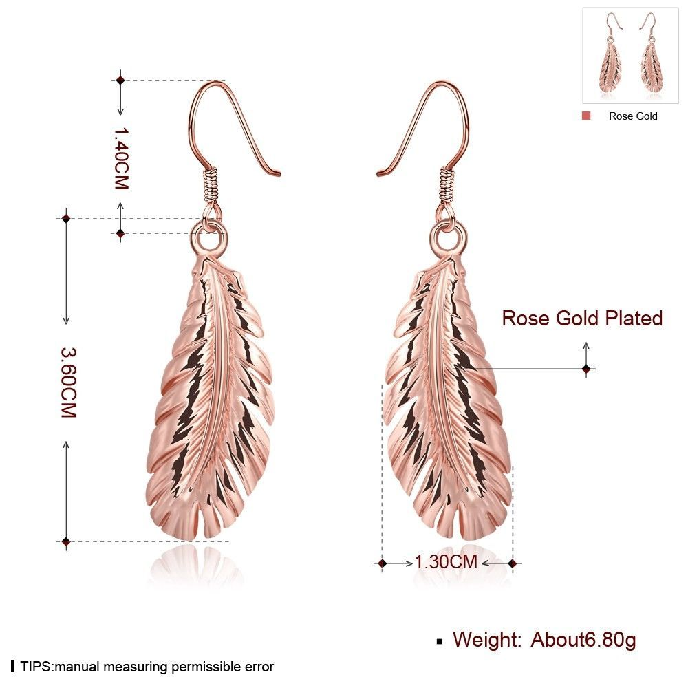 Women Feather Earring 18K Rose Gold Filled Jewelry Fashion Drop Dangle