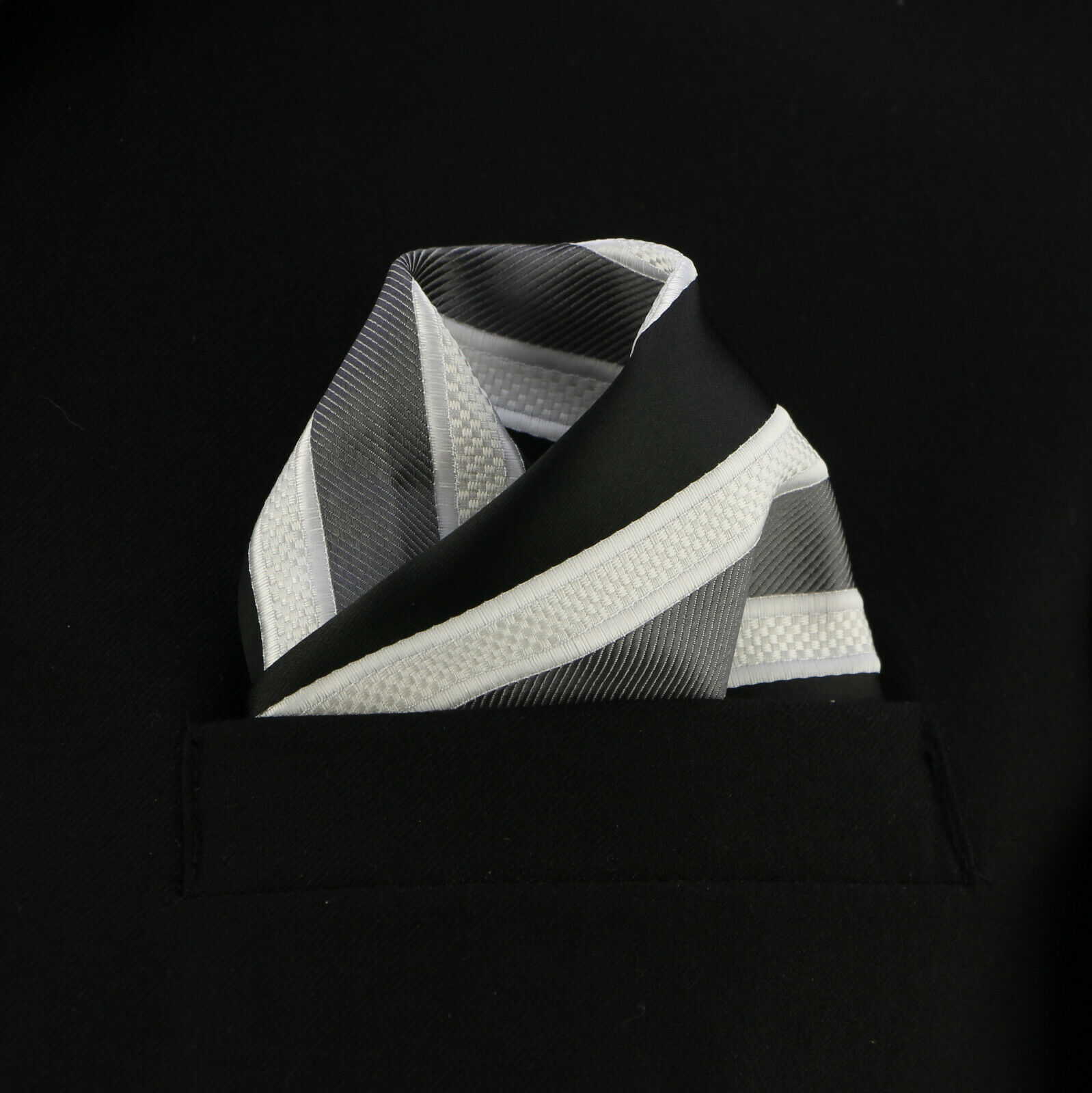 "Men's Pocket Square 10"" Handkerchief Wedding Fashion Striped White & Black Hanky"