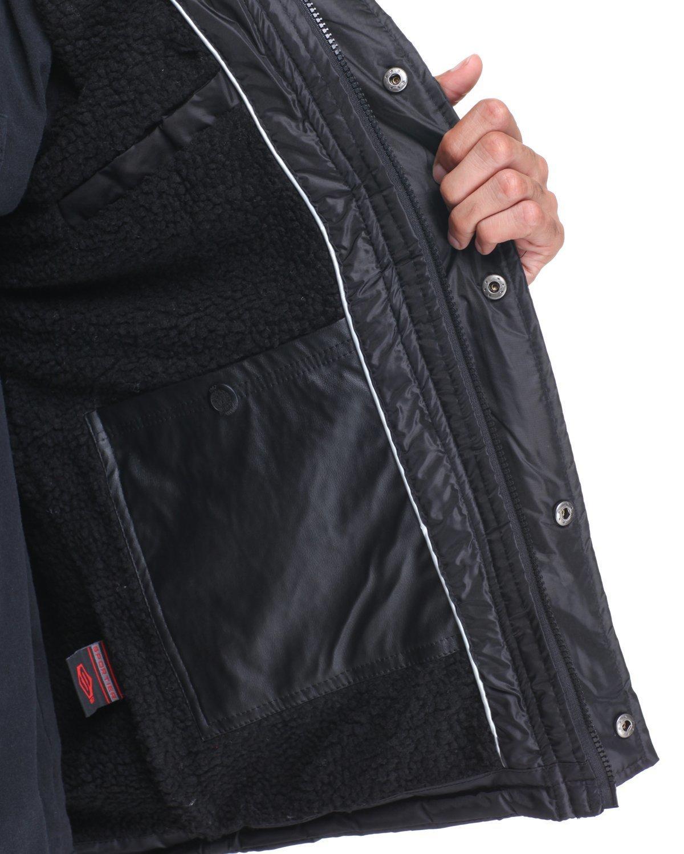 Removable hood sherpa lined hooded nylon heavyweight jacket