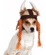 Halloween Costume Viking Hat Braids Pet Small Medium Boutique Dog Cloth ... - $297,47 MXN