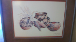 NAVAJO POTS & CORN by SECUNDINO SANDOVAL, SIGNED FRAMED & MATTED PRINT - $371.24