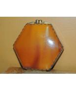 "Vintage Compact 3.5"" Caramel Lucite Bakelite Catalin Art Deco beveled mi... - $51.74"