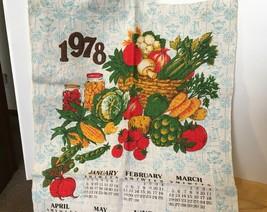 1978 Vtg Calendar w/ Veggies Tea Towel image 2