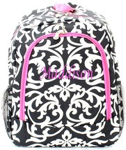 Personalized DAMASK Pink LARGE School Backpack Monogram Embroidered Name - $15.09+