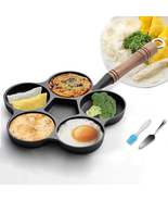 5 Hole Cast Iron Omelette Frying Pan Uncoated Non-stick W Oil Brush & Sp... - $46.99