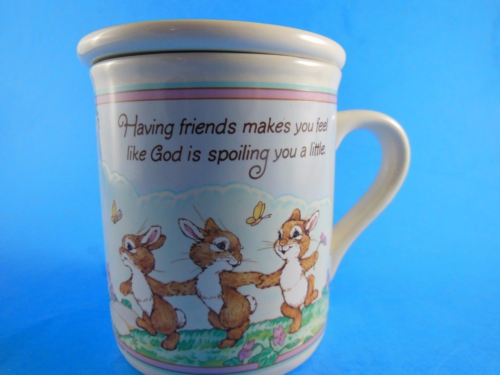 Primary image for Vintage Hallmark Mug Mates Coffee Mug Friends Like God Is spoiling You w Bunnies