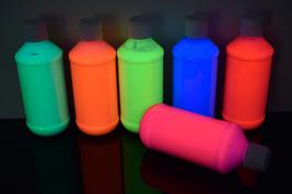 6 Pack 8oz Assorted Blacklight Reactive Fluorescent Acrylic Paint - $59.95