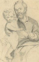 Early 20th Century Charcoal Drawing - Portrait of a Man and Child - $44.39