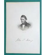 JOHN T. IRVNG American Novelist - 1854 Portrait Intaglio Print - $9.00