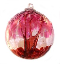 "6"" European Art Glass Spirit Tree Embossed Leaf ""PASSION"" Red Witch Ball... - $41.23"