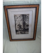 """Antique Picture Art Etching """"Charlcote"""" Fred Slocombe Wood Frame Signed - $569.25"""
