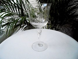 Elegant Flower Cut Tall Clear Crystal Wine Glass Unbranded - $18.80