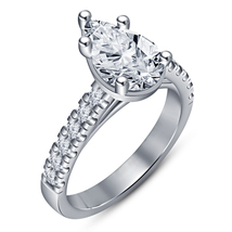 Pear Shape Diamond 10k White Gold Plated Pure 925 Silver Women's Engagem... - $73.99