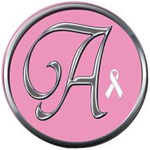 Monogram Alphabet Silver Letter A Pink Breast Cancer Ribbon 18MM-20MM Sn... - $5.95