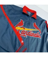 St Louis Cardinals Gray Track Jacket Sz L Embroidered Stitches MLB - $39.99
