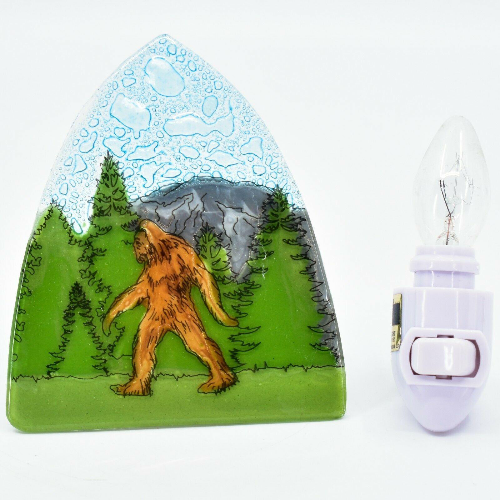 Handmade Fused Art Glass Sasquatch Sighting Nightlight Night Light Ecuador