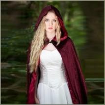 Medieval Maidens Long Satin Lined Wine Velvet Hooded Cape Mantel Winter ... - $122.95