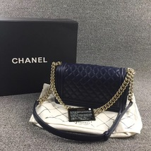 AUTHENTIC CHANEL DARK BLUE QUILTED LAMBSKIN MEDIUM BOY FLAP BAG LIGHT GOLD HW