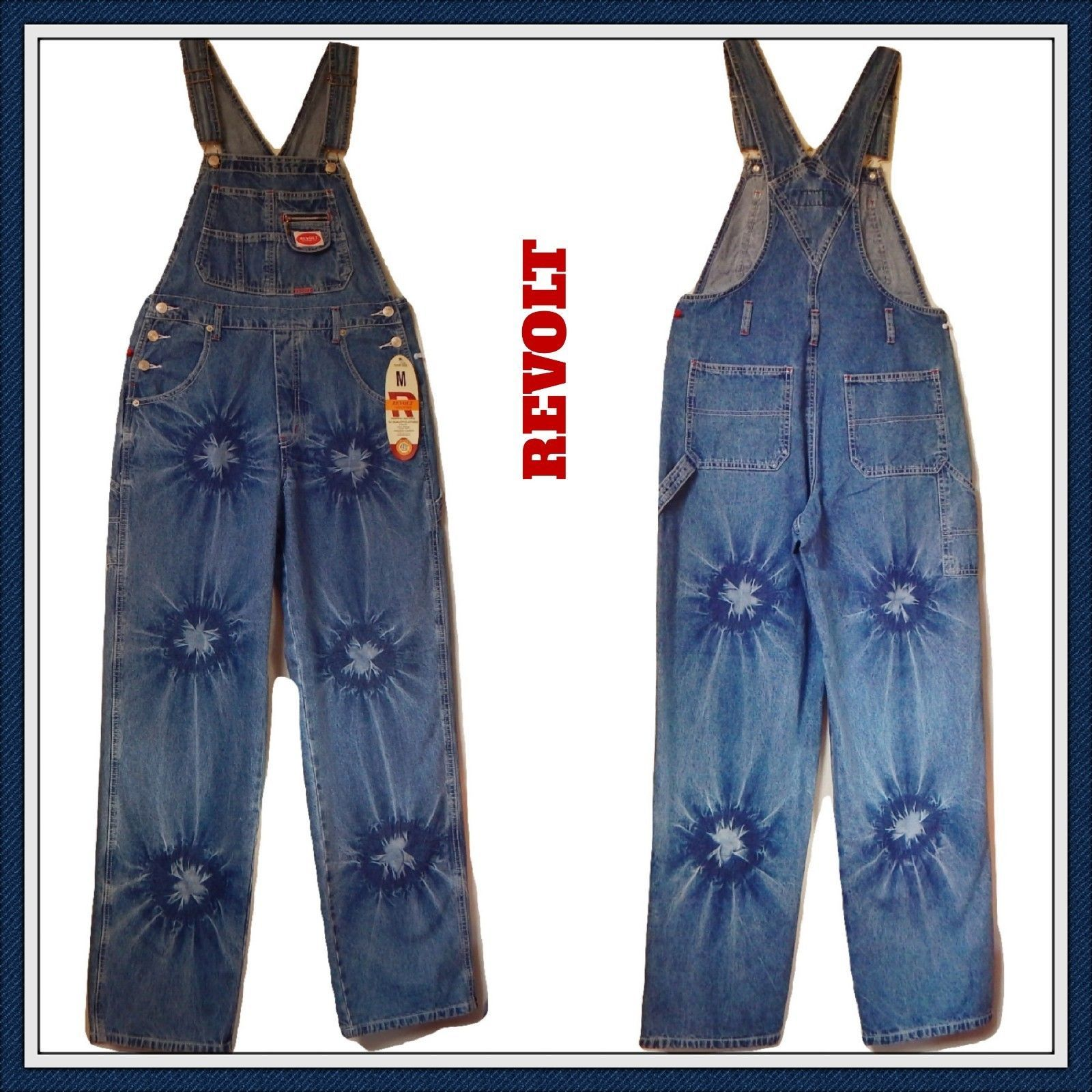 1e42ebfe REVOLT Classic Bib Overalls Tye Bleach and 50 similar items