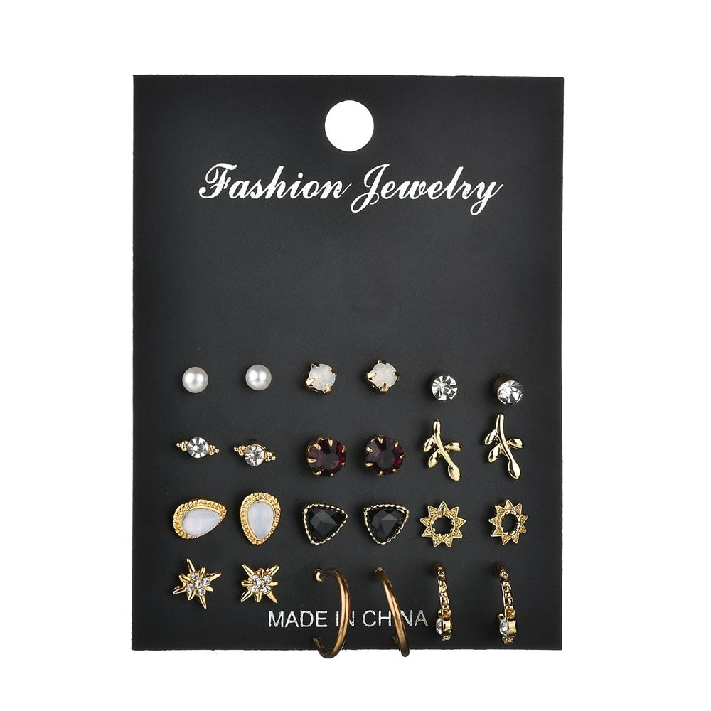 BAHYHAQ - 12 Pairs/Set Unique Design Vintage Small Stud Earrings