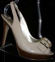 Guess 'Chiara' nude man made peep toe buckle slingback platform heels 8M - $30.53