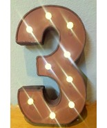 Lighted LED Vintage Style Metal Number 3 Sign - battery operated - $17.50