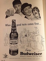 "RARE VTG 1955 Magazine Print Ad 8"" X 11"" Budweiser Beer Horse Jockey - $15.11"