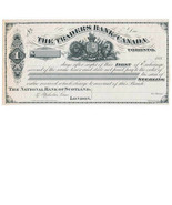 Traders Bank of Canada, Toronto, India proof, First of Exchange, 1880, L... - $159.00