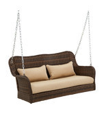 Brown Wicker 3-Seater Swing Loveseat Bench Outdoor Patio Garden Furnitur... - £225.14 GBP