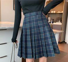 Knee Length Pleated Plaid Skirt Women Plus Size Navy Black Pleated PLAID SKIRTS image 3