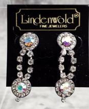LINDENWOLD FINE JEWELERS COSTUME JEWELRY CUBIC ZIRCONIA DANGLE EARRINGS - $12.99