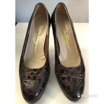 salvatore ferragamo brown leather crocodile pattern low pumps women's shoes 7.5b - $45.52
