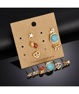 BAHYHAQ -  6 Pairs Earrings Set Gold Color Alloy Small Stud Earrings - $4.11