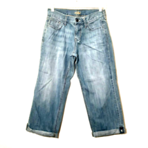 OLD NAVY FLIRT womens jeans size 2 blue boyfriend crop leg roll up butto... - $26.99