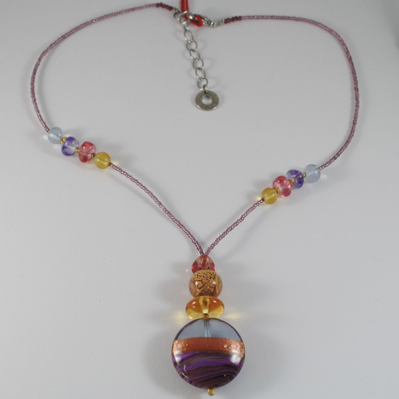 ANTICA MURRINA VENEZIA NECKLACE, BIG PURPLE FINELY STRIPED DISC PENDANT