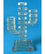 Vintage 1980s Cut Stacked Glass Cactus Figurine Modernist Sculpture Ariz... - $24.95