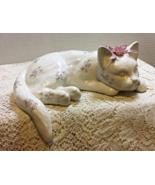Vintage Shelf Sitter Cat Figurine, White Cat with Purple Flower Design - $14.00