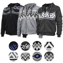 EKZ Men's Graphic Geo Tribal Fleece Lined Zip Up Sherpa Hoodie Jacket