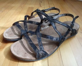 Dansko Jovie Coffee Swirl Womens 8.5 9 39 Strappy Comfort Sandals Cork Footbed - $35.79