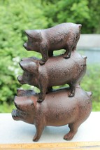 New Cast Iron Pig Stack 3 Stacked Pigs Figurine Doorstop or Bookends - $18.00