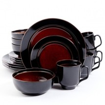 Gibson Bella Galleria 16 Piece Dinnerware Set- Red and Black - $77.35