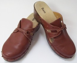 Bass Clogs Shoes Brown Leather Mules Slip-on Womens Size 8M - $53.92