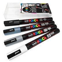 Uni POSCA - PC-3M Art Paint Markers - Set of 4 - In Plastic Wallet - Grey Tones - $15.69