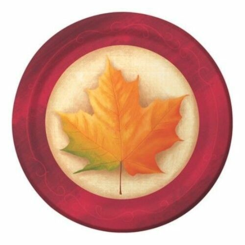 "Fall Breeze 8 Ct Dinner Plates 9"" Maple Leaves Thanksgiving"