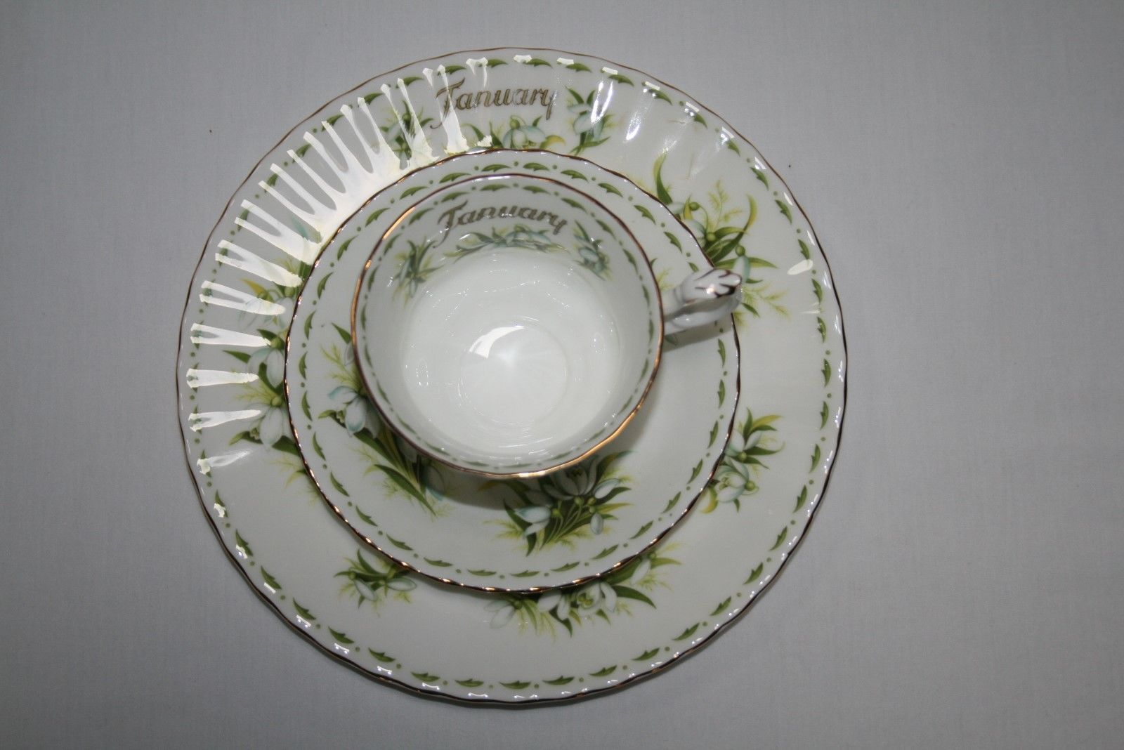 Vtg Royal Albert England 3 Pc Trio Flower of the Month Tea Cup, Saucer & Plate